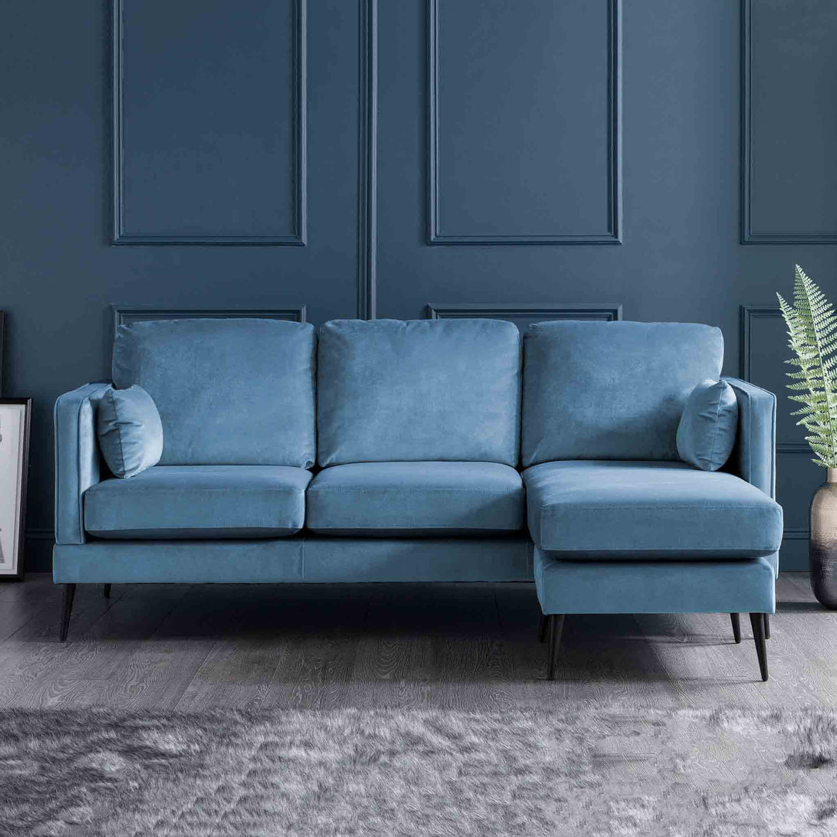 Anton Reversible Peacock Corner Chaise Sofa - Lifestyle right hand chaise