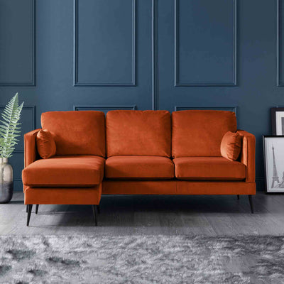 Anton Reversible Apricot Corner Chaise Sofa - Lifestyle of left hand chaise