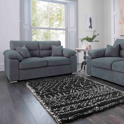 Amalfi Charcoal 2 Seater Fabric Sofa room setting