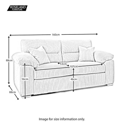 Amalfi 2 Seater Fabric Sofa size guide