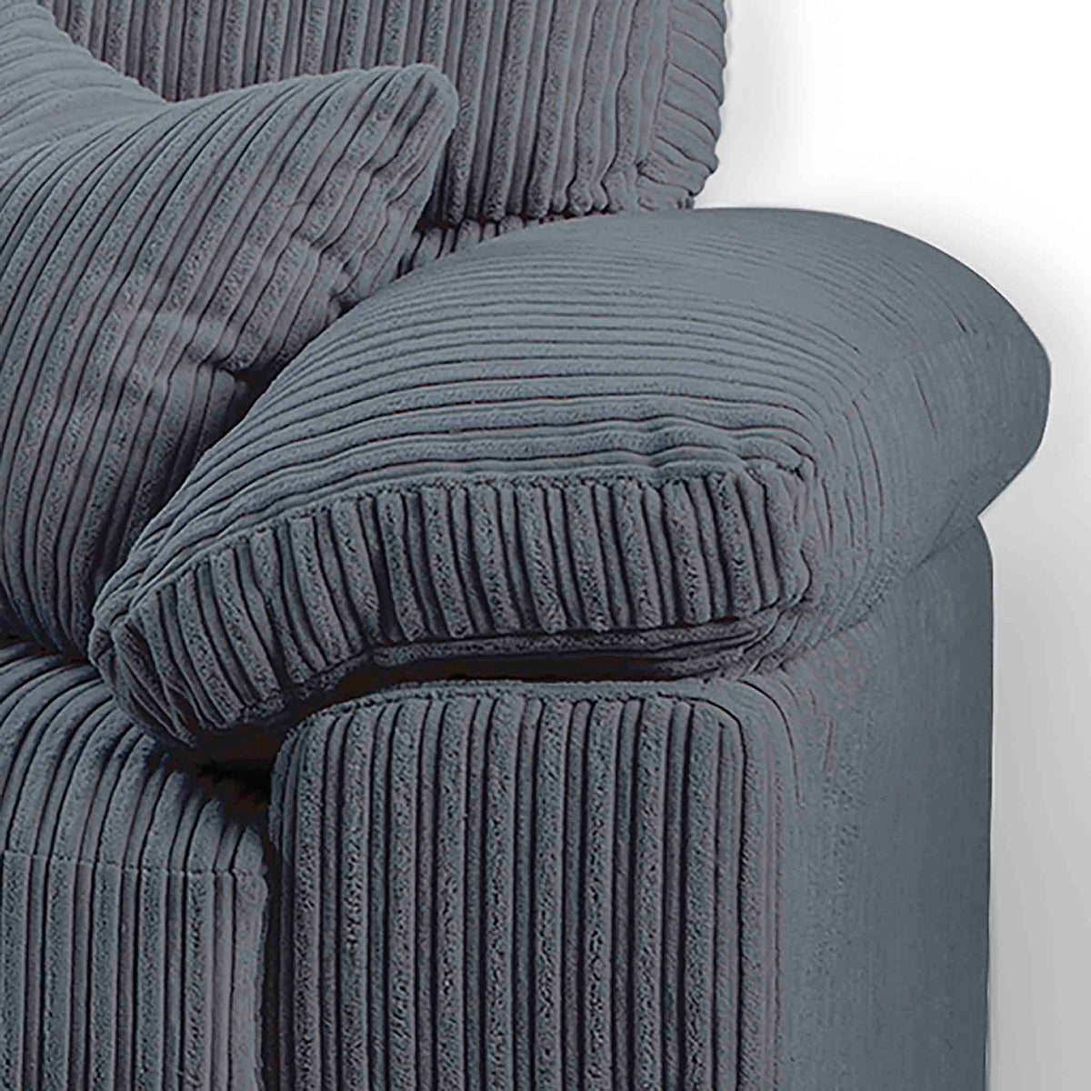 close up of chunky cushioned armrests on the Amalfi Charcoal Corner Fabric Sofa