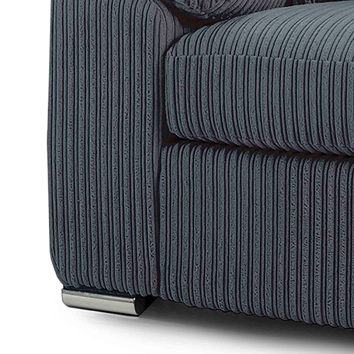 close up of the stainless steel feet on the Amalfi Charcoal Corner Fabric Sofa