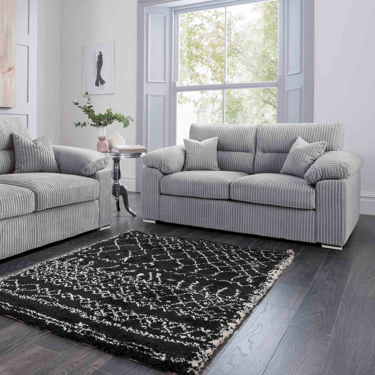 Amalfi Silver 2 Seater Fabric Sofa room setting