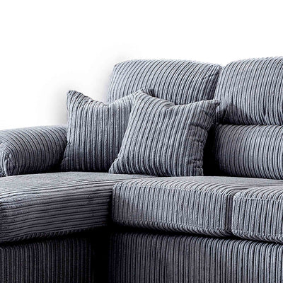 close up of corduroy fabric and matching accent cushions on the Amalfi Charcoal Corner Chaise Fabric Sofa