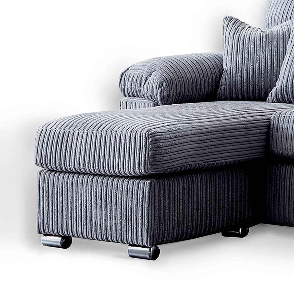 close up of the featured footstool and chaise cushion on the Amalfi Charcoal Corner Chaise Fabric Sofa