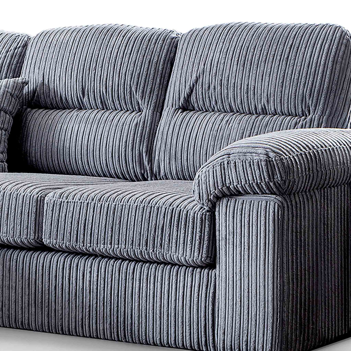 close up of comfy split back cushions on the Amalfi Charcoal Corner Chaise Fabric Sofa