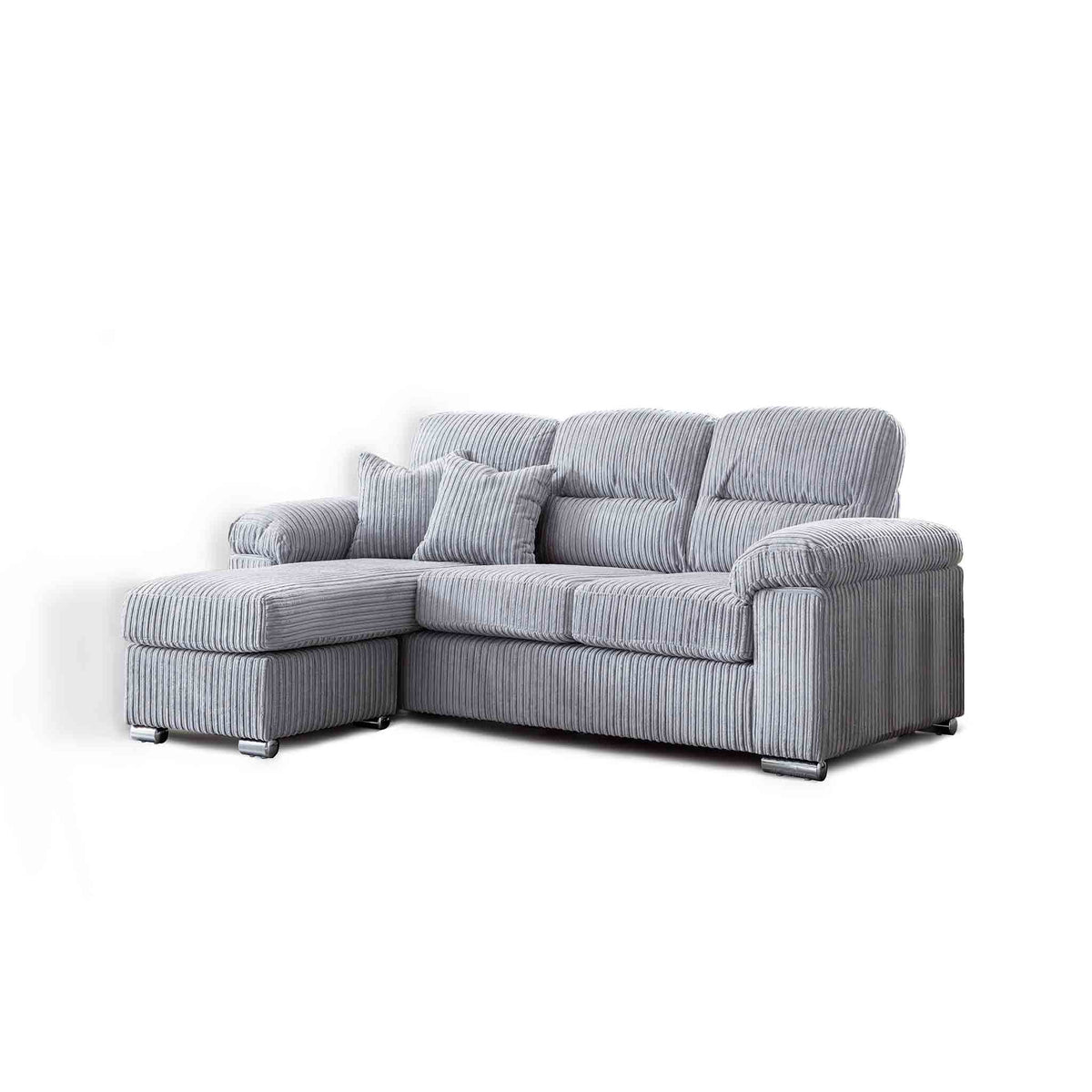 Amalfi Silver Corner Chaise Fabric Sofa from Roseland Furniture