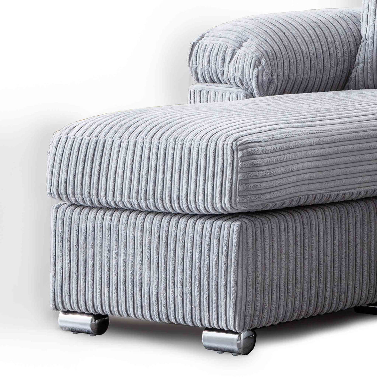 close up of the featured footstool and chaise cushion on the Amalfi Silver Corner Chaise Fabric Sofa