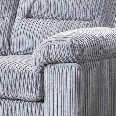 close up of the cushions armrests on the Amalfi Silver Corner Chaise Fabric Sofa