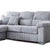black cylindrical feet on the Amalfi Silver Corner Chaise Fabric Sofa