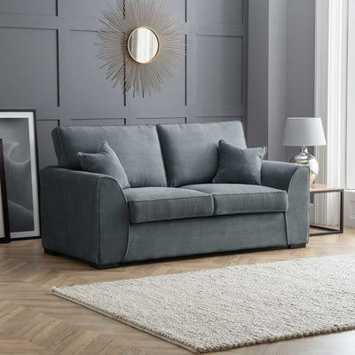 Dallas Charcoal 2 Seater Sofa Bed - Lifestyle with bed closed