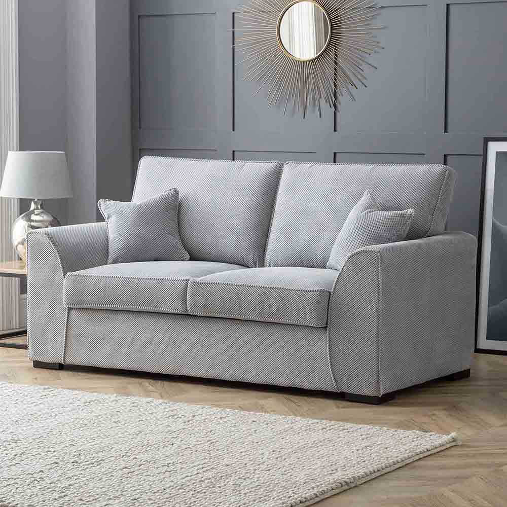 Dallas Silver 2 Seater Sofa Bed - Lifestyle with bed closed