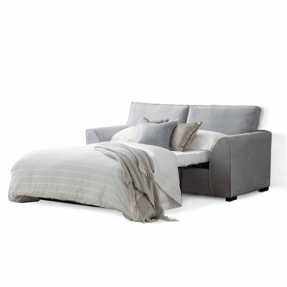 Dallas Silver 2 Seater Sofa Bed - With bed open