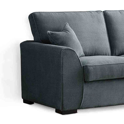 Dallas Charcoal 2 Seater Sofa - Close up of arm rest and side of sofa