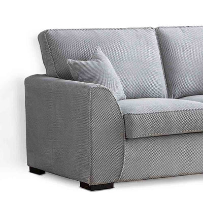 Dallas Silver 2 Seater Sofa - Close up of arm rest and side of sofa
