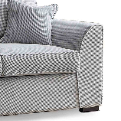 Dallas Silver 2 Seater Sofa - Close up of arm and foot of sofa