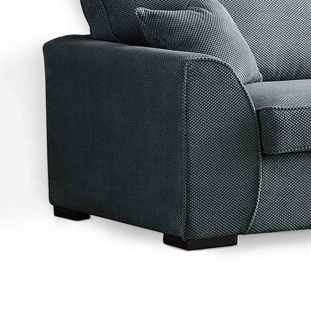Dallas Charcoal 3 Seater Sofa - Close up of side of sofa