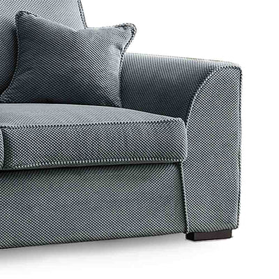 Dallas Charcoal 3 Seater Sofa - Close up of arm rest and cushions