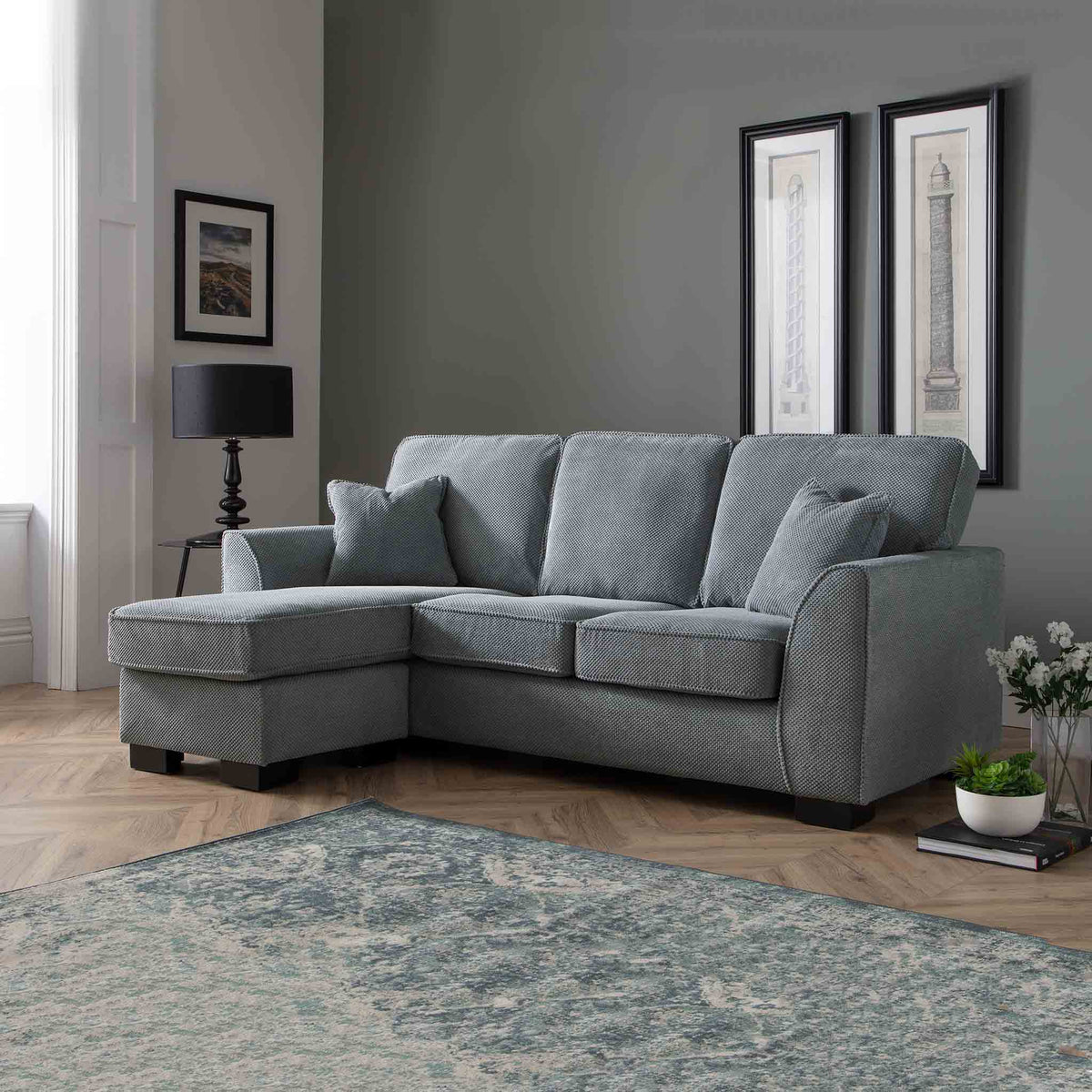 Dallas Charcoal Corner Chaise Sofa - Lifestyle