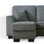 Dallas Charcoal Corner Chaise Sofa - Close up of chaise on sofa