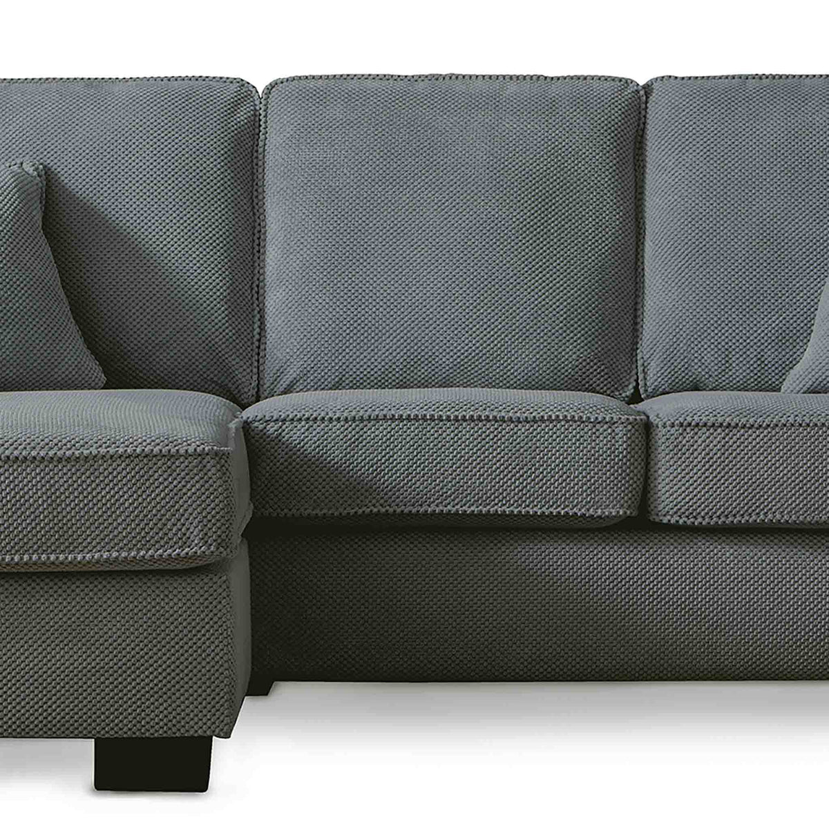Dallas Charcoal Corner Chaise Sofa - Close up of mid section on sofa