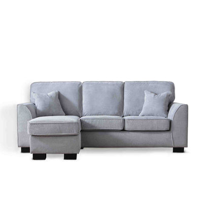 Dallas Silver Corner Chaise Sofa by Roseland Furniture