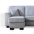 Dallas Silver Corner Chaise Sofa - Close up of chaise end of sofa