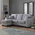 Dallas Silver Corner Chaise Sofa - Lifestyle