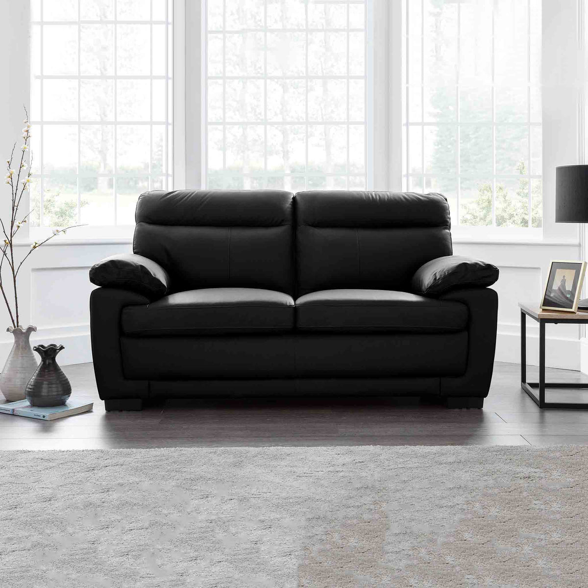 Hugo  Black 2 Seater Leather Sofa - Lifestyle