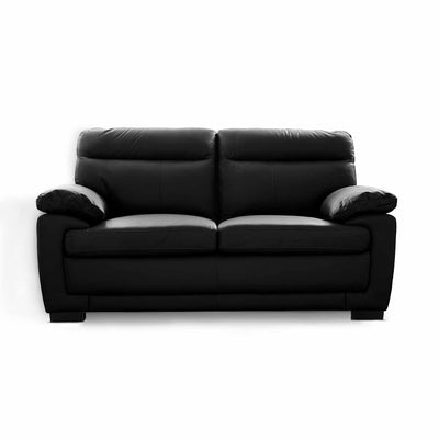 Hugo  Black 2 Seater Leather Sofa by Roseland Furniture