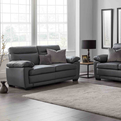 Hugo Grey 2 Seater Leather Sofa - Lifestyle