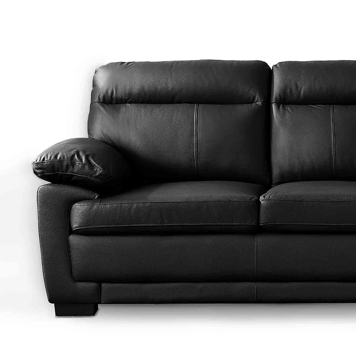 Hugo Black 3 Seater Leather Sofa - Close up