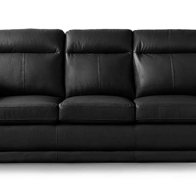 Hugo Black 3 Seater Leather Sofa - Close up of mid section of sofa