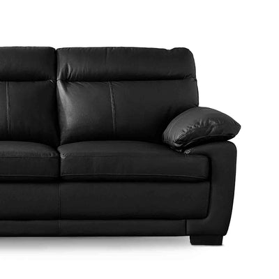 Hugo Black 3 Seater Leather Sofa - Close up of end seat on sofa