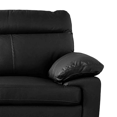 Hugo Black 3 Seater Leather Sofa - Close up of arm rest