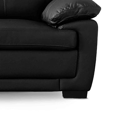 Hugo Black 3 Seater Leather Sofa - Close up of foot on sofa
