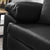 Hugo  Black 2 Seater Leather Sofa - Close up of arm rest