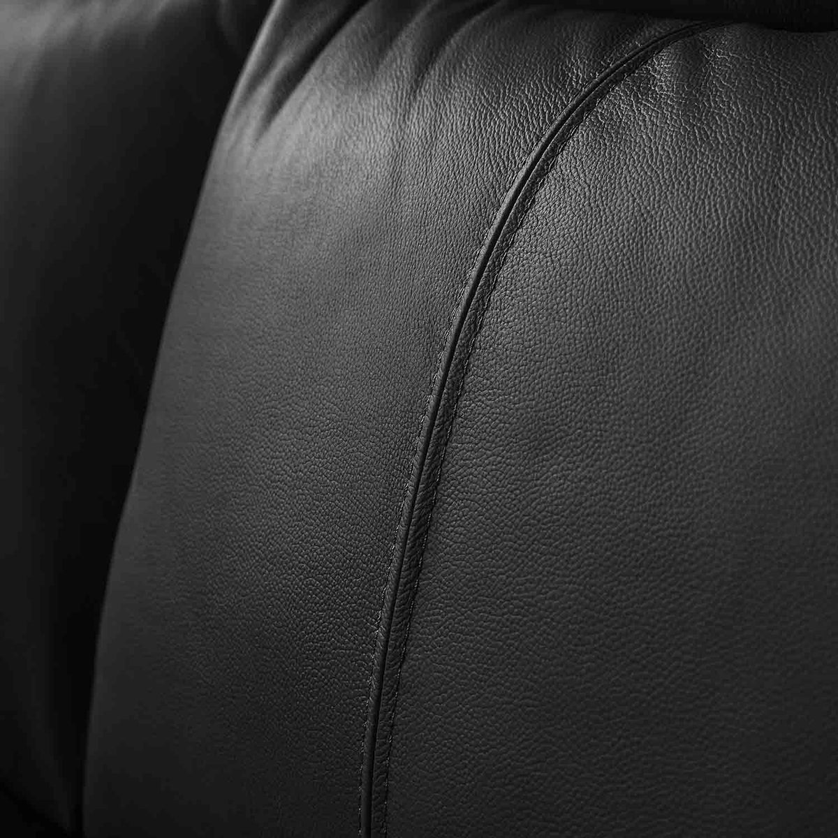 Hugo Black 3 Seater Leather Sofa - Close up of back cushion on sofa