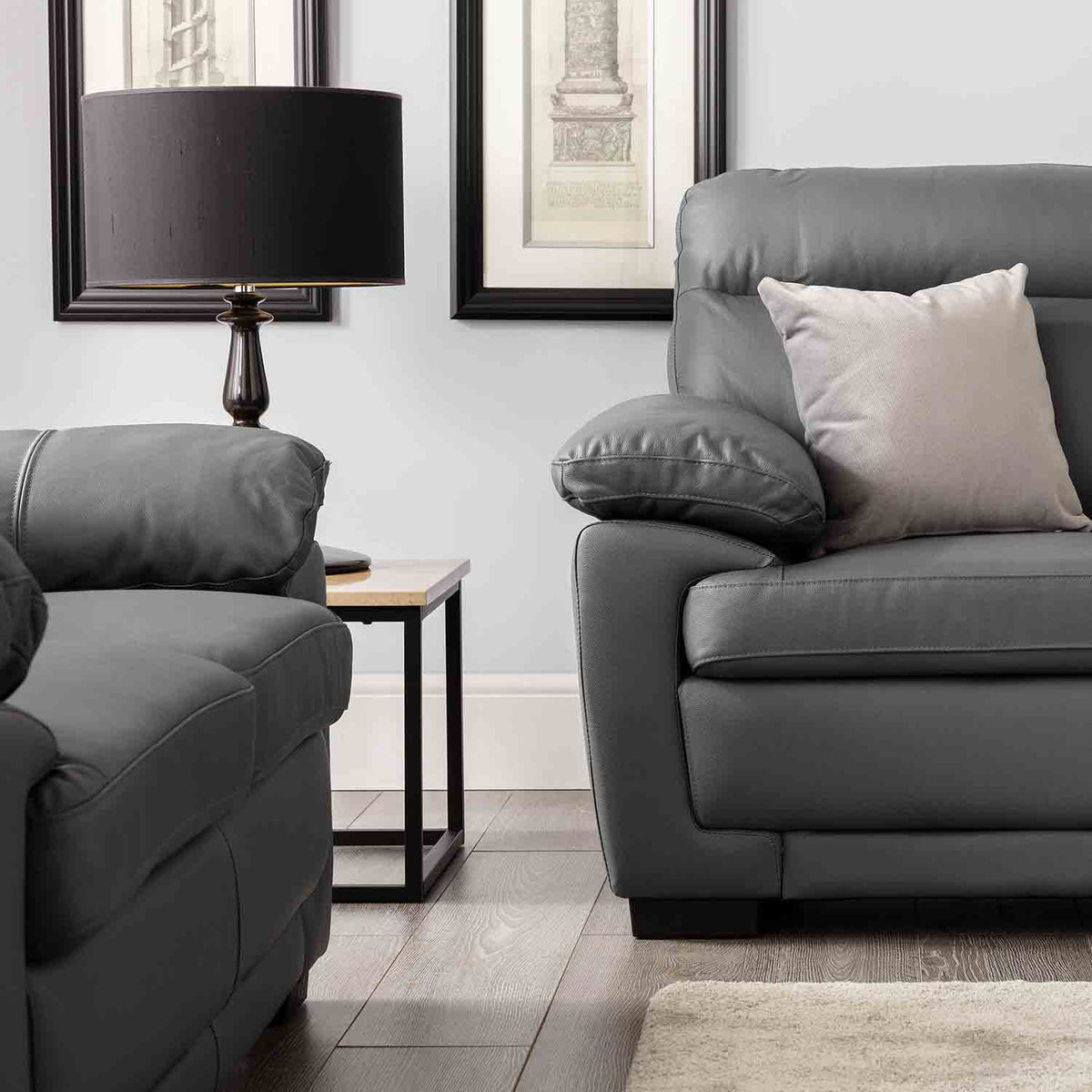 Hugo Grey 2 Seater Leather Sofa - Close up Lifestyle
