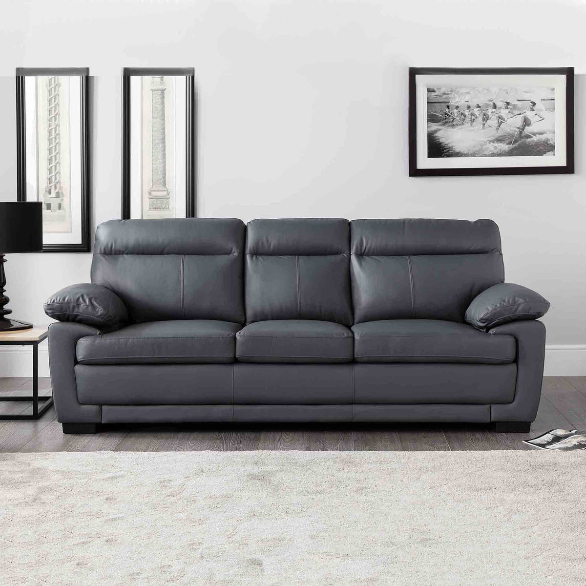 Hugo Grey 3 Seater Leather Sofa - Lifestyle