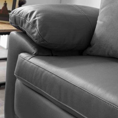 Hugo Grey 2 Seater Leather Sofa - Close up of arm reat