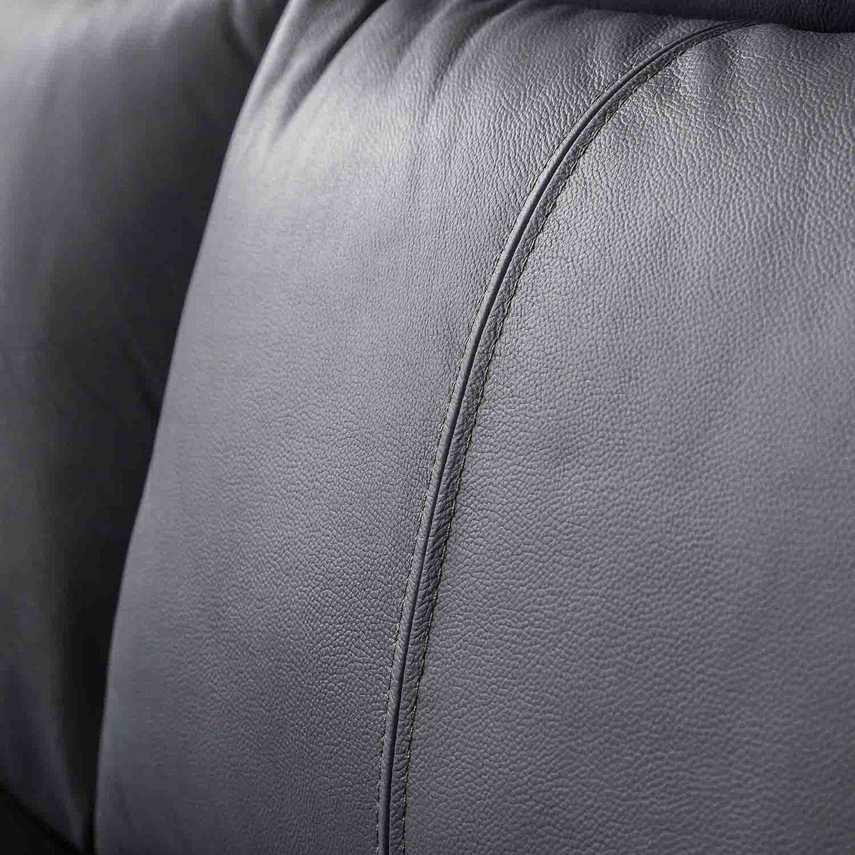 Hugo Grey 3 Seater Leather Sofa - Close up of back cushion on sofa