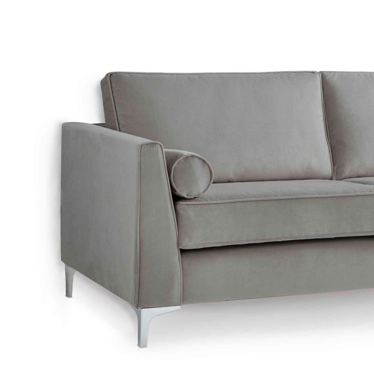 Ikon Grey 3 Seater Sofa - Close up of side of sofa