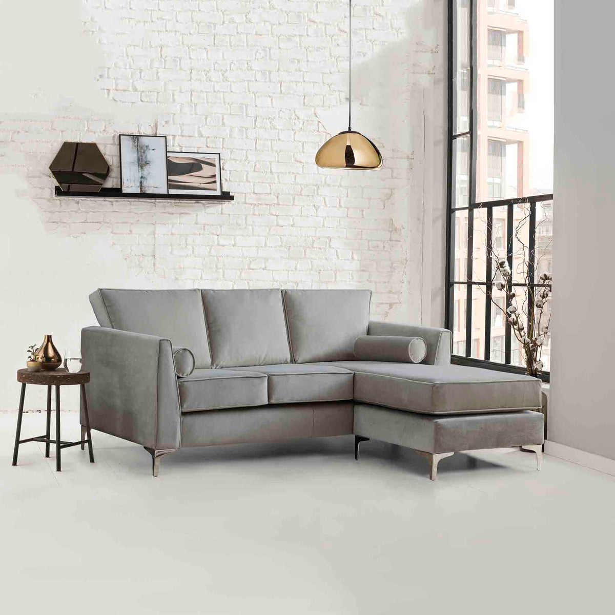 Ikon Reversible Grey Chaise Corner Sofa - Lifestyle