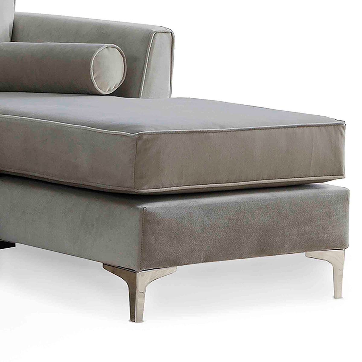 Ikon Reversible Grey Chaise Corner Sofa - Close up of chaise section