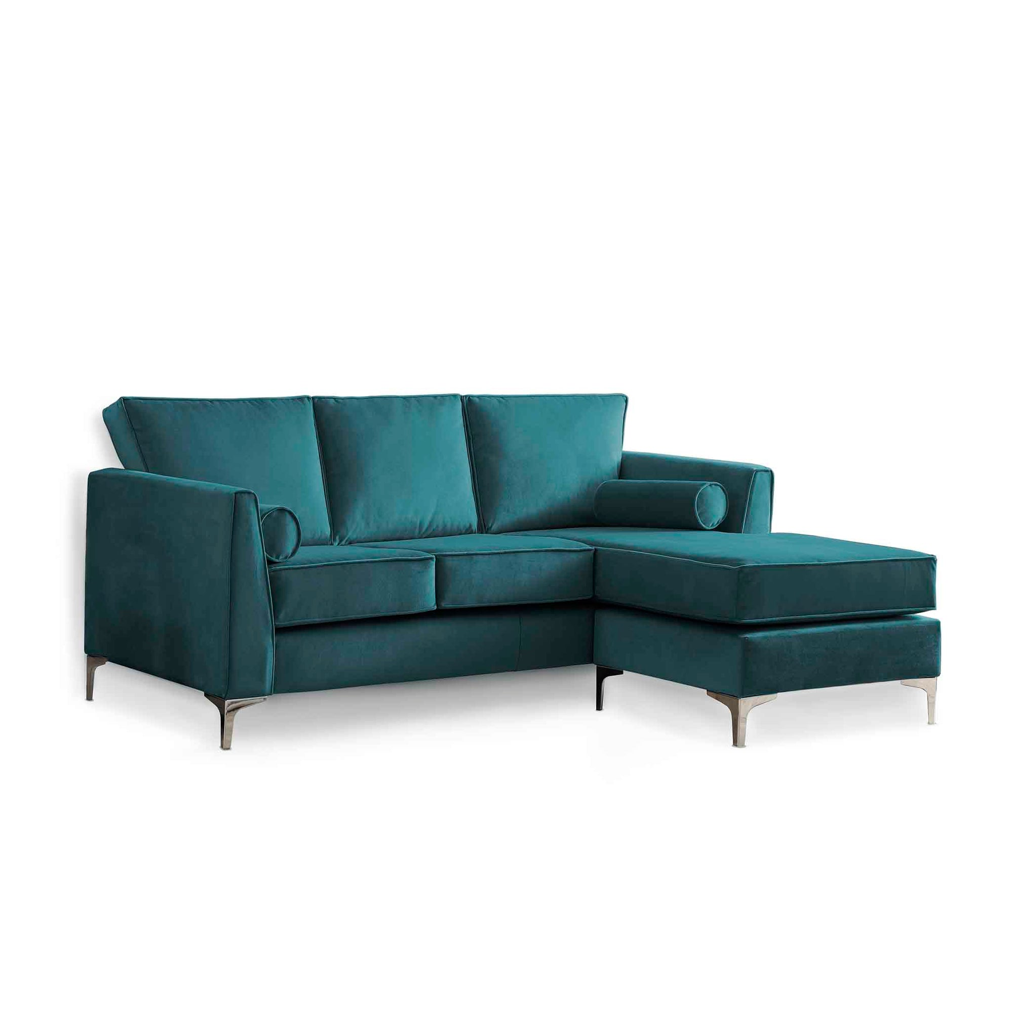 Ikon Reversible Peacock Chaise Corner Sofa by Roseland Furniture