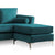 Ikon Reversible Peacock Chaise Corner Sofa - Close up of chaise section
