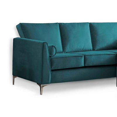 Ikon Reversible Peacock Chaise Corner Sofa - Close up of side of sofa