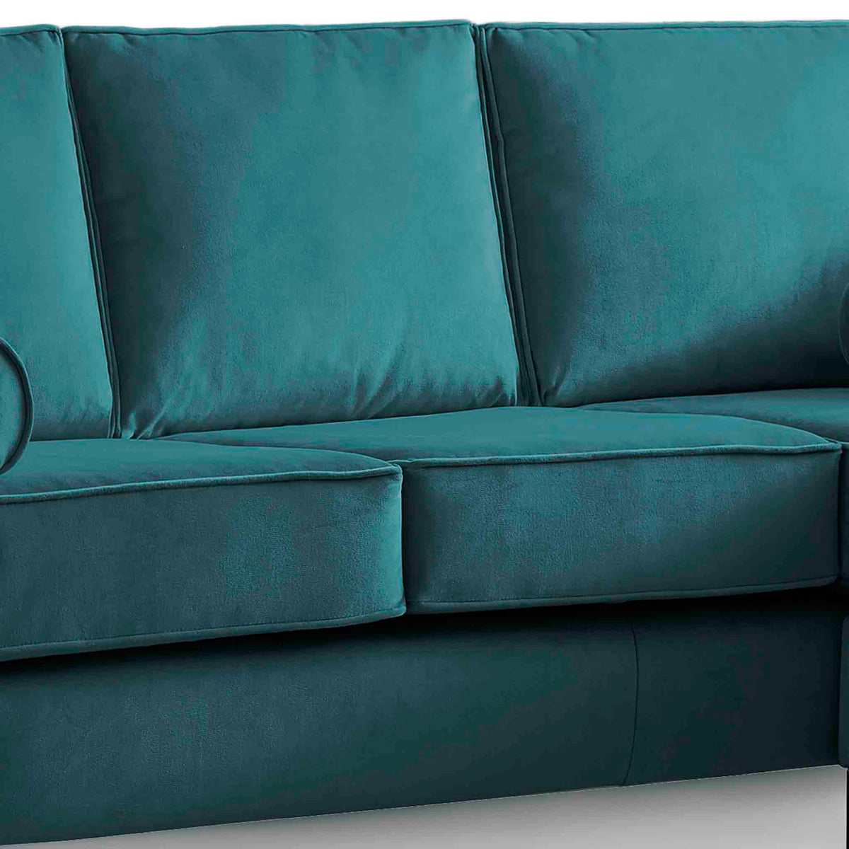 Ikon Reversible Peacock Chaise Corner Sofa - Close up of cushions on sofa