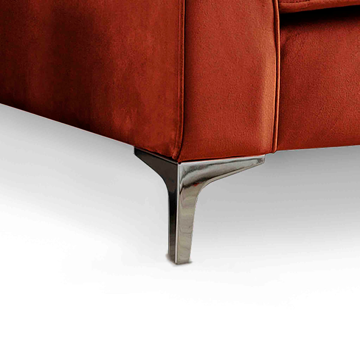Ikon Reversible Apricot Chaise Corner Sofa - Close up of foot